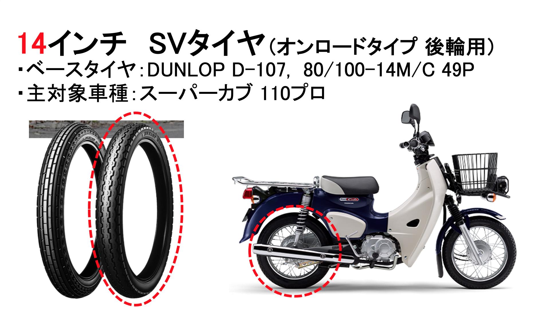 サバイバルタイヤ(DUNLOP D-107, 80/100-14)