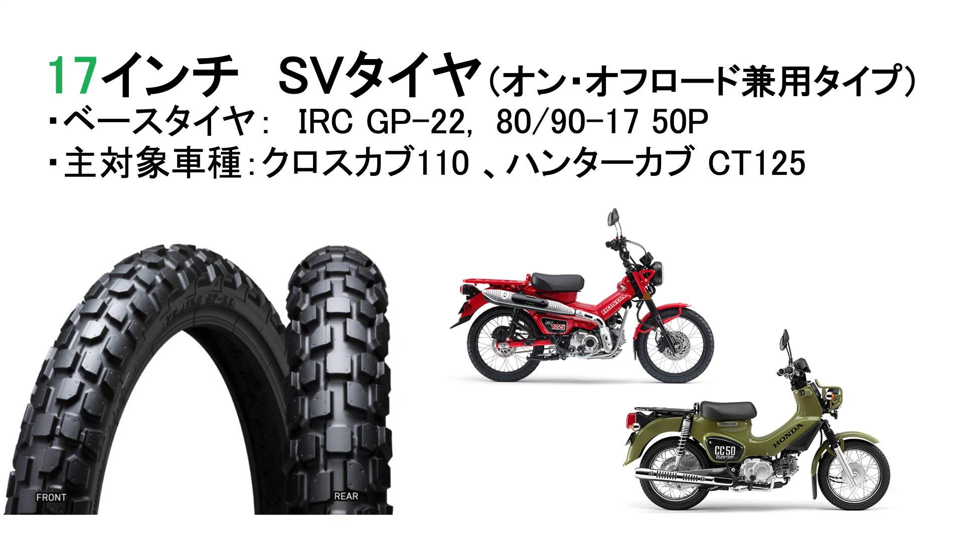 サバイバルタイヤ(IRC GP-22, 80/90-17)