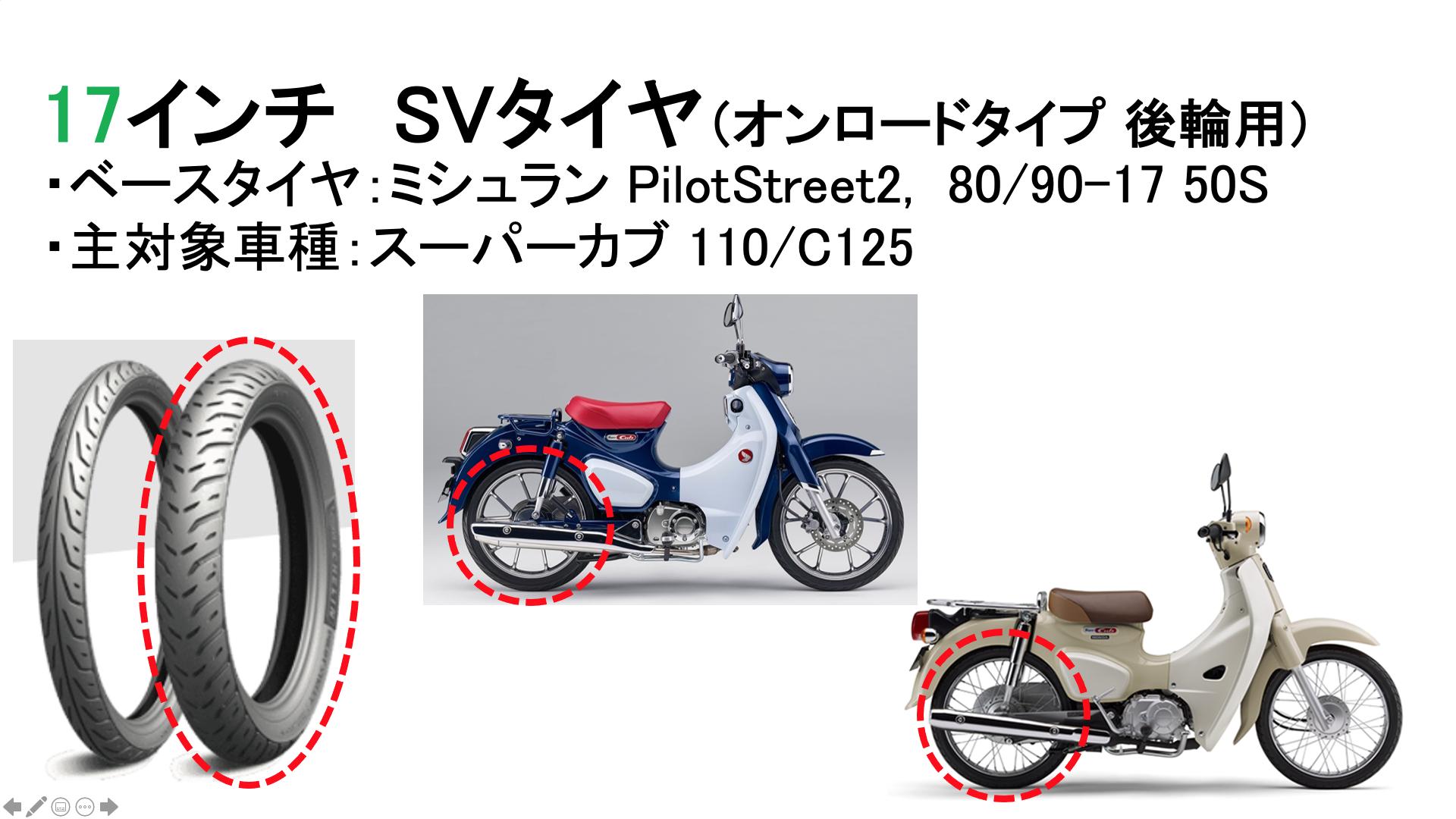 サバイバルタイヤ(MICHELIN PilotStreet2, 80/90-17)